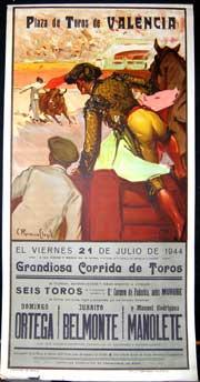 Plaza de Toros de Valencia. Matadores: Ortega,: Ruano Llopis, Carlos.