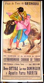 Plaza de Toros de Granada. Matadores: Ortega, Dominguin and Parrita.