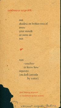 Sun Shadow On Broken Tree. For Larry Eigner. A Cranium Free Poem.: Wyatt, Andrea.