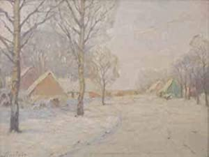 Village Winter Scene. Likvidtavlan.: Sinclair, Folke (1877-1956)