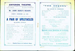 A Pair Of Spectacles. Comedy in Three Acts (adapted from the French).: Criterion Theatre; Sydney ...