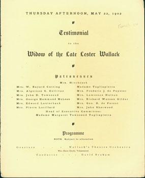 Testimonial To the Widow of the Late Lester Wallack.: Wallack's Theatre; H. L. Heartz (music).
