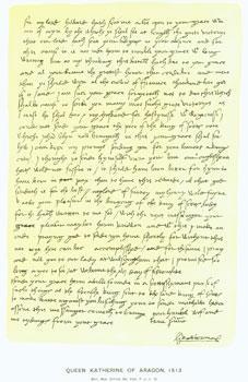 Queen Katherine of Aragon, 1513; facsimile of manuscript. From Universal Classic Manuscripts: ...