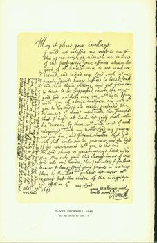 Oliver Cromwell, 1649; facsimile of manuscript. From Universal Classic Manuscripts: Facsimiles From...