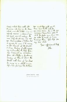 John Keats, 1820; facsimile of manuscript. From: Warner, George Frederic;