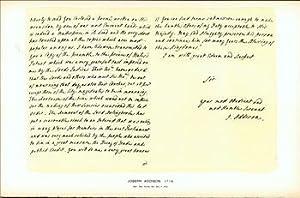 Joseph Addison, 1714; facsimile of manuscript. From Universal Classic Manuscripts: Facsimiles From ...