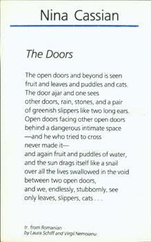 The Doors.: Cassian, Nina; Laura Schiff & Virgil Nemoianu (transl.).