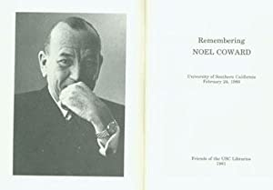 Remembering Noel Coward. University Of Southern California. February 24, 1980.: Friends of the USC ...