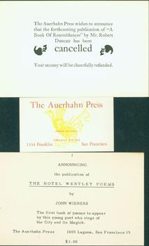 Auerhahn Press Miscellania.Auerhahn Press Business Card.The Auerhahn: Auerhahn Press; Andrew