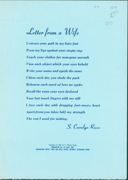 Letter From A Wife.: Broadside Press; Sarah Carolyn Reese; Dudley Randall (publ.).