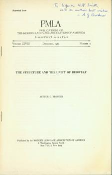 The Structure and the Unity of Beowulf.: Brodeur, Arthur G.;