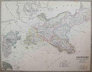 Map of Preussen (Prussia).: Bærentzen, Emil , P.C. Friedenreich, and A. Bull.