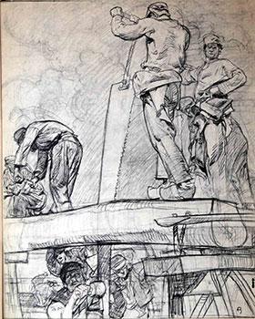 Study for the etching Sawyers (Gaunt, 43): Brangwyn, Frank
