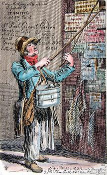 Man Posting Bills with 2 Posts from Etchings of Remarkable Beggars, Itinerant Traders, and Other ...