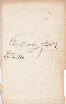 Autograph.: Fisher, George Oakley.