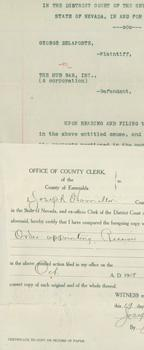 Legal Papers filed October 9, 1908.: District Court of the Seventh Judicial District of the State ...