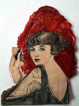 Woman with a Fan.: 1920s Artist.