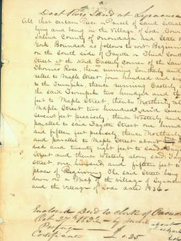 Deed & MS Letter from Obadiah Parker to Stephen C. Roe, October 29, 1836. Involving the sale of...