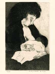 Mother Nursing.: Soyer, Raphael.