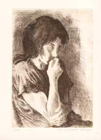 Seated Girl with Hand on Mouth.: Soyer, Raphael.