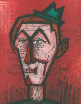 Le Clown au fond rouge. (Clown on a red Background): Buffet, Bernard