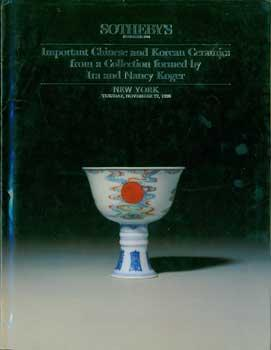 Important Chinese And Korean Ceramics from a Collection formed by Ira and Nancy Koger. November 27,...