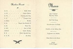 """Menu for the Mouchers """"Second"""" at Bergez-Frank's Old Poodle Dog Restaurant, San ..."""
