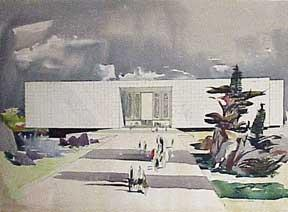 Design for a Monumental Building (with murals, lake and landscaping).