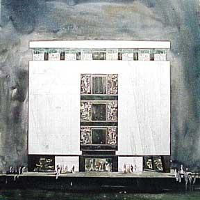 Design for a Monumental Building with Three Diptych Murals, Los Angeles, California.