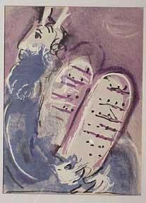 Moses holding the Ten Commandments.: Chagall, Marc.