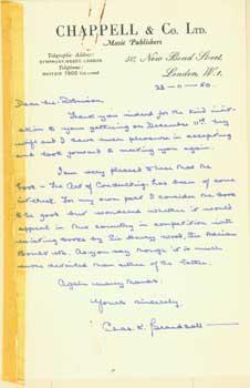 ALS Charles K. Beardsall to Geoffrey Robinson, November 23, 1950.: Charles K. Beardsall; Chappell &...