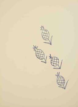 4 page spread of pineapples from Poésies Antillaises, illustrées par Henri Matisse.: Nau, ...