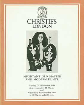 Important Old Master and Modern Prints. November 29, 1988. London. Sale # RETIRE-3958-9. Lot #s 250...