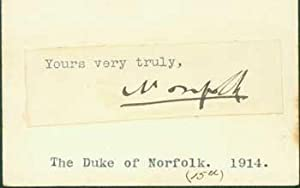 Signature of the Fifteenth Duke of Norfolk pasted onto card with typed title.: Henry ...