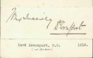 Signature of Hudson Kearley, Lord Devonport, pasted onto card with typed title.: Hudson Kearley, ...