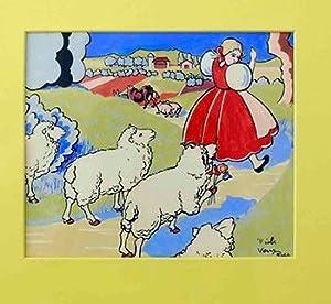 Bo-Peep on her way back to the Farm followed by 4 Sheep.: Hauenstein, Oskar (