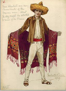 Mexican Man with a Serape and Sombrero;: Norris, Herbert (1875?
