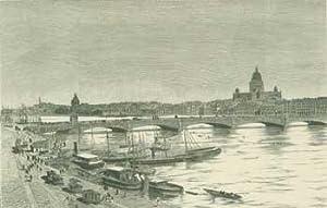 Die Newa-Brucke in St. Petersburg (The Neva Bridge in St. Petersburg).: Carl Joseph Meyer?]