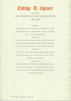Eldridge T. Spencer: President San Francisco Art Association 1941-1948.