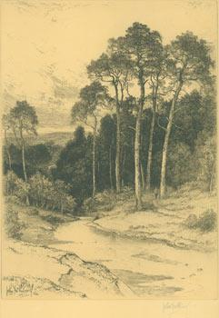 (Thames Valley Landscape, Stream Flowing Through Forest).