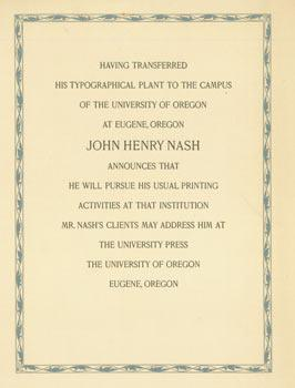 Having Transferred His Typographical Plant to the Campus of the University of Oregon at Eugene, O...