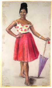 Creole Woman Leaning On an Umbrella.