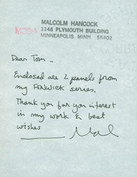 MS with Original Autograph signed by Malcolm: Malcolm Hancock.