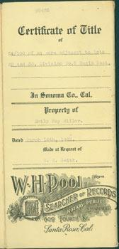 Certificate Of Title, Property of Emily May Miller, Dated March 14th, 1922, Made at Request of W....