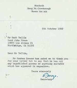Letter from secretary to Graham Greene, to: Graham Greene.