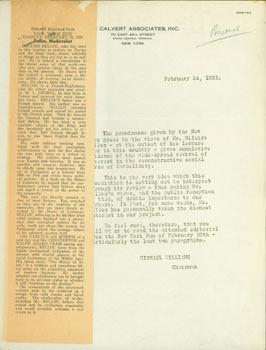 Typed Form Letter by Michael Williams on: Calvert Associates (NY);