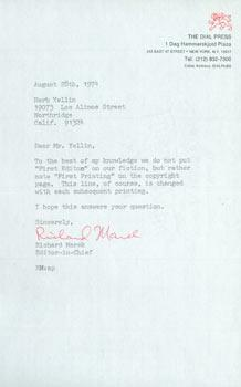 TLS from Richard Marek (Dial Press) to Herb Yellin, Lord John Press. RE: first editions. August 28,...