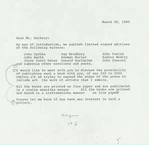Draft of typed letter from Herb Yellin of Lord John Press to David Hockney soliciting works to ...