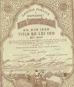 Certificate for the Appropriation of Land Rent, 100 lei.: The Kingdom of Romania.