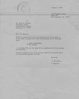 Signed letter from T. Thornton to Peter B. Howard of Serendipity Books.: T. Thornton.